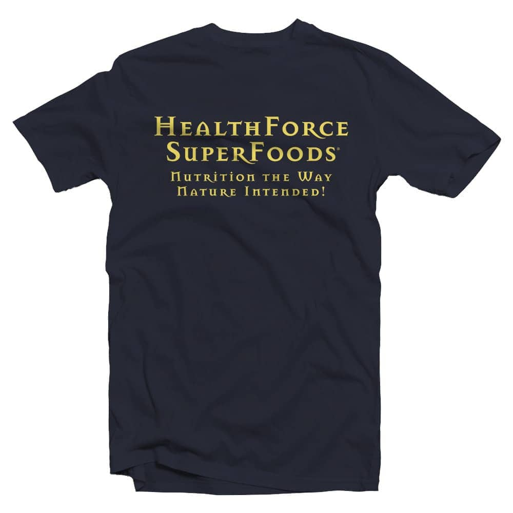HealthForce SuperFoods Organic Cotton Tee Shirt Front Navy Blue